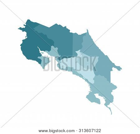 Vector Isolated Illustration Of Simplified Administrative Map Of Costa Rica. Borders Of The Province