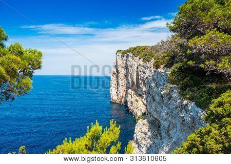 Spectacular Cliffs Above The Sea On The Shore Of Nature Park Telascica, Island Of Dugi Otok, Croatia