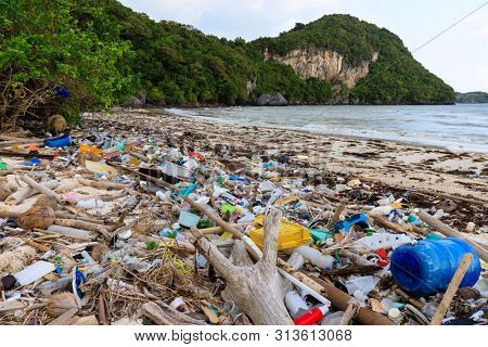 Paradise beach in Thailand ruined by heavy plastic pollution.