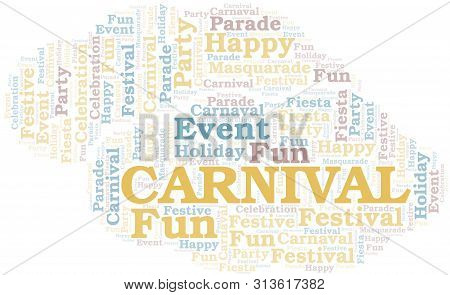 Carnival word cloud vector made with text only poster