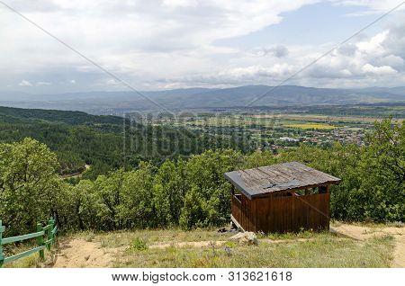 Wooden mountain shelter for rest near path toward Stob pyramids, west share of Rila mountain, Kyustendil region, Bulgaria, Europe poster
