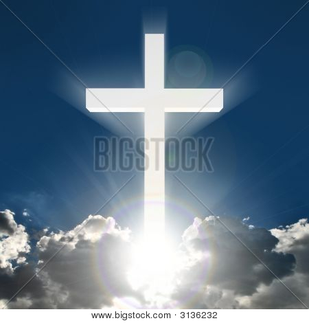3D Glowing White Cross