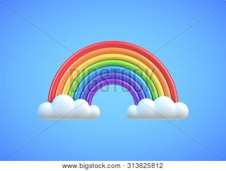 Colorful Rainbow With Clouds 3d Vector Illustration