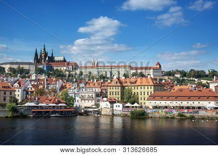 Praha, Czech Republic - 25 September, 2015: View Of The City Of Prague And The Vltava River In Praha