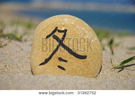 japanese winter season on a stone