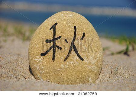 japanese autumn season on a stone