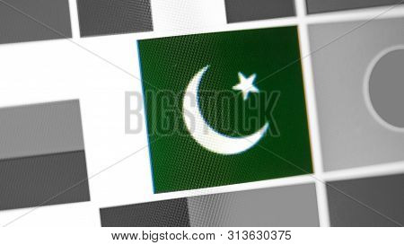 Pakistan National Flag Of Country. Pakistan Flag On The Display, A Digital Moire Effect. News Of Geo
