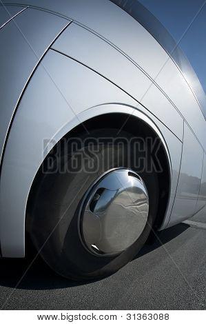 Big wheel on a bus