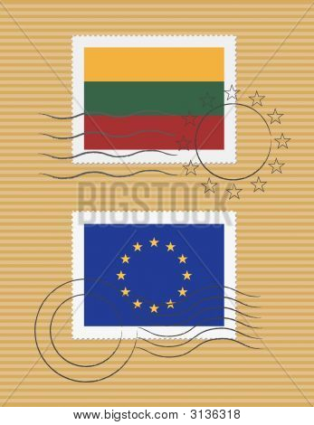 Lithuania And Eu - Stamps With Flag