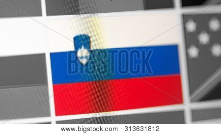 Slovenia National Flag Of Country. Slovenia Flag On The Display, A Digital Moire Effect. News Of Geo