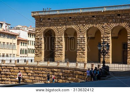 Florence, Italy - April, 2018: Detail Of The Facade Of The Famous Renaissance Palazzo Pitti In Flore
