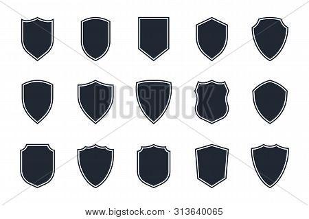 Shield Icon Set On White Background, Shield Symbols In Flat Style For Web Design, App, Ui, Logo