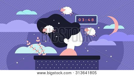Insomnia Vector Illustration. Flat Tiny Sleep Time Problems Persons Concept. Abstract Sleeplessness