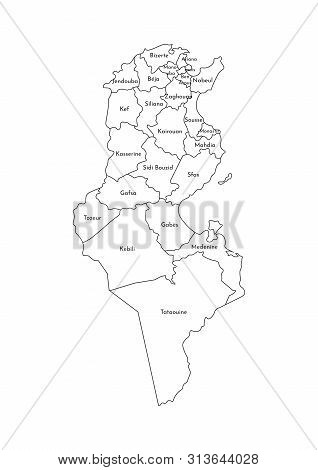 Vector Isolated Illustration Of Simplified Administrative Map Of Tunisia. Borders And Names Of The G