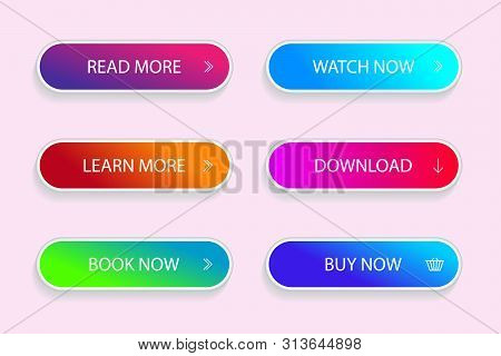 Set Of Modern Vivid Buttons. Grident Button Of Submit, Download For App. Vector Illustration