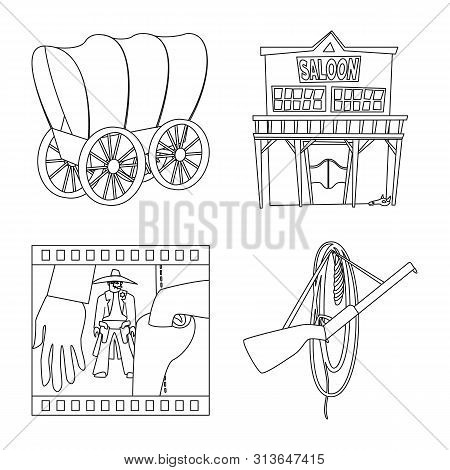 bitmap illustration of western and american icon. Collection of western and farm stock symbol for web. poster