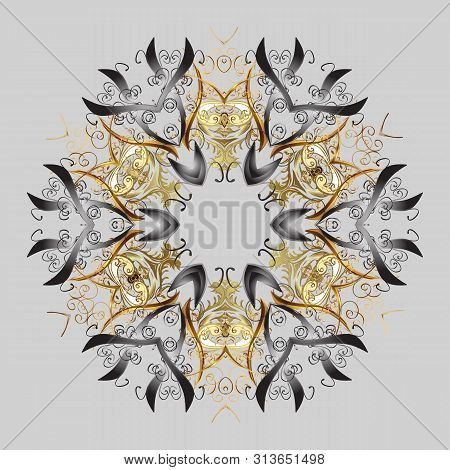Snowflakes Pattern. Snowflake Ornamental Pattern. Vector Illustration. Flat Design Of Snowflakes Iso
