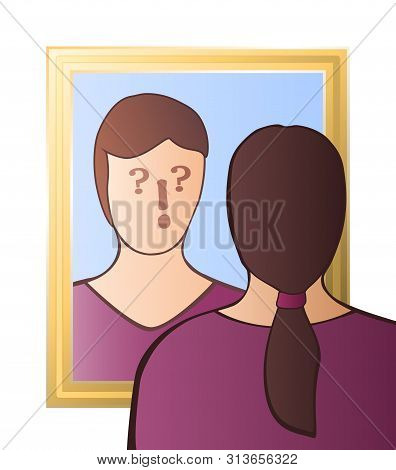Doubtful Woman Looking In The Mirror - Identity Crisis, Uncertainty, Self-doubts, Scepticism, Bewild