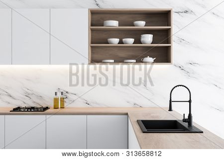 Side View Of White Marble Kitchen Counter