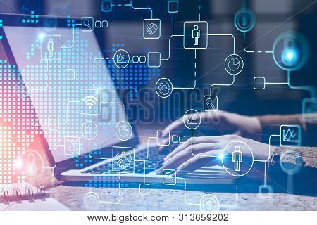 Woman Typing In Office, Digital Interface