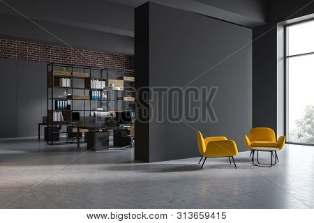 Gray Open Space Office Corner With Lounge