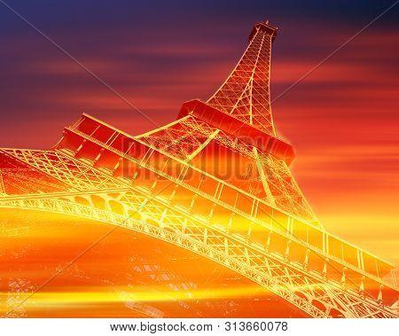 Eiffel Tower, Paris, In Red And Orange Tones.