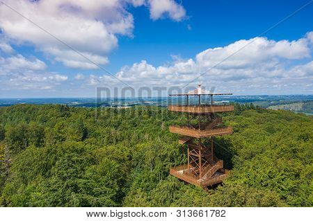 Aerial View Of Wiezyca. Observation Tower. Kashubian Landscape Park. Kaszuby. Poland. Photo Made By