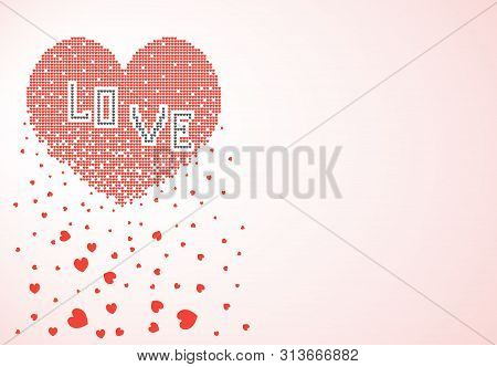 Heart Consisting Of Many Small Pixel Hearts Dissolves, Crumbles In The Form Of Leaves. Vector Illust