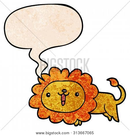 cute cartoon lion with speech bubble in retro texture style