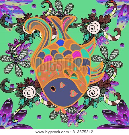 Seamless Collection Of Cartoon Reef Fishes. Raster Illustration. Tropical Fish On A Green, Orange An
