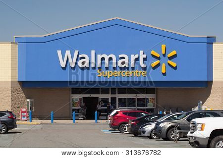 Truro, Canada - June 04, 2019: Walmart Storefront. Walmart Is An American Corporation With Chains Of
