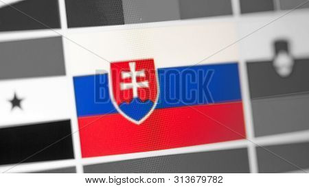 Slovakia National Flag Of Country. Slovakia Flag On The Display, A Digital Moire Effect. News Of Geo