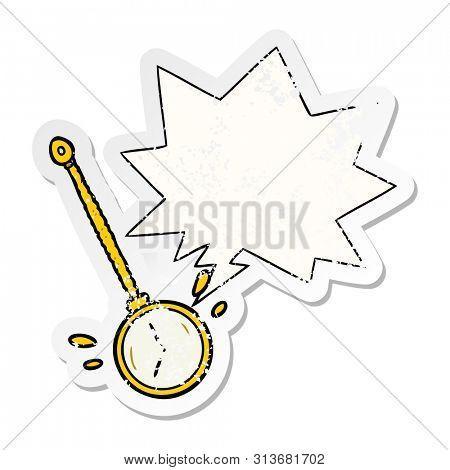 cartoon swinging gold hypnotist watch with speech bubble distressed distressed old sticker