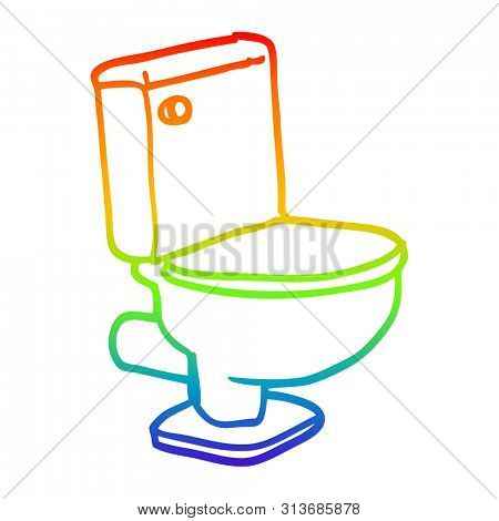 rainbow gradient line drawing of a cartoon closed toilet