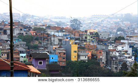 Crowded Favelas in Sao Paulo, Brazil in night time On May 02, 2015, Sao Paulo, Brazil.