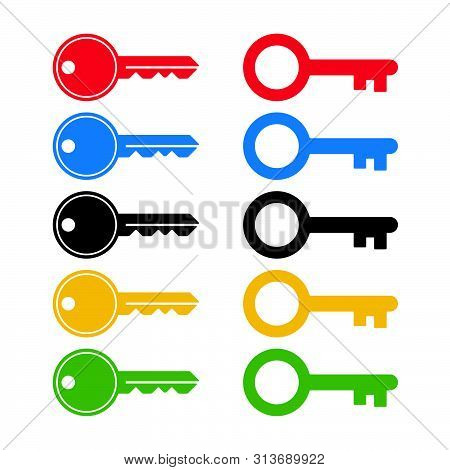 Colorful Keys On White Background. Isolated Key Icons.