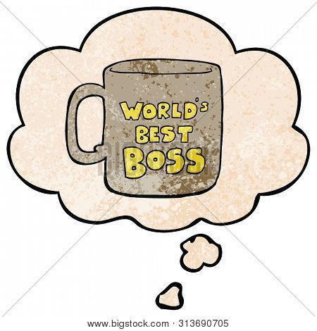 worlds best boss mug with thought bubble in grunge texture style