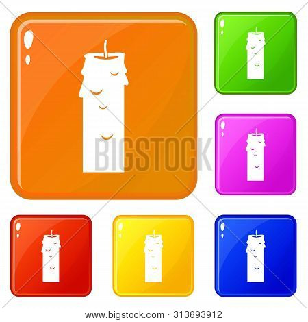 Paraffin Candle Icons Set Collection Vector 6 Color Isolated On White Background