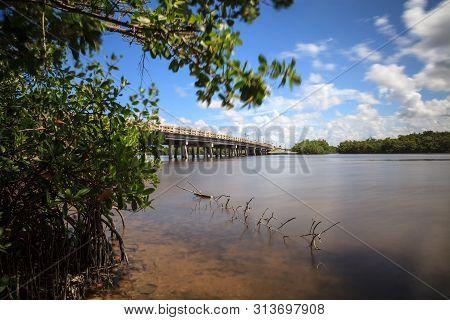 Bridge Over Big Hickory Pass Smooth Waterway In Bonita Springs, Florida