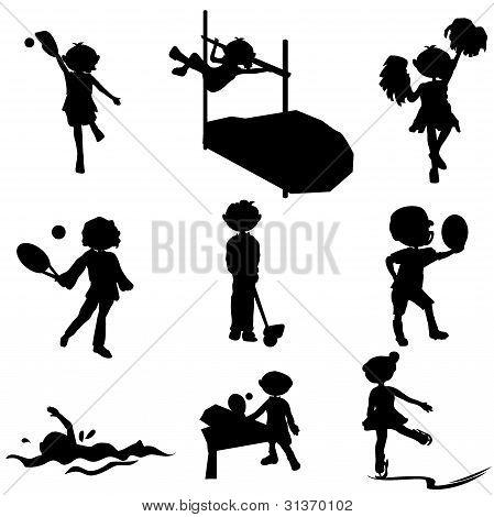 Cartoon Silhouettes Sport Children