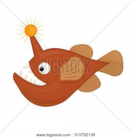 Angler Fish. Vector Cute Illustration Of Angry Fish With Lantern For Kids. Deep Sea Creature