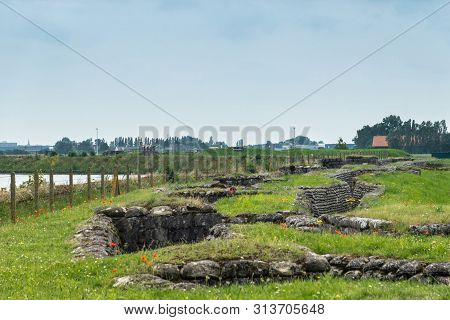 Diksmuide, Flanders, Belgium -  June 19, 2019: Overview Of Historic Ww1 Trenches, Called Dodengang A