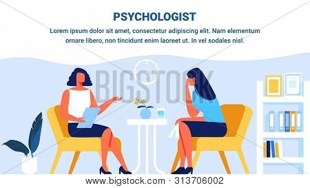 Psychologist And Woman Patient In Psychologist Office. Woman Depression. Psychological Help. Vector
