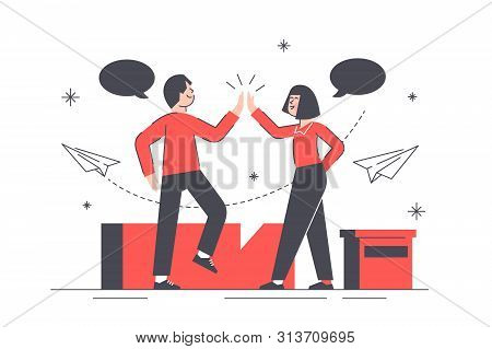 High Five Gesture Illustration. People With Speech Bubbles Perform Celebrating Sign In Order To Gree