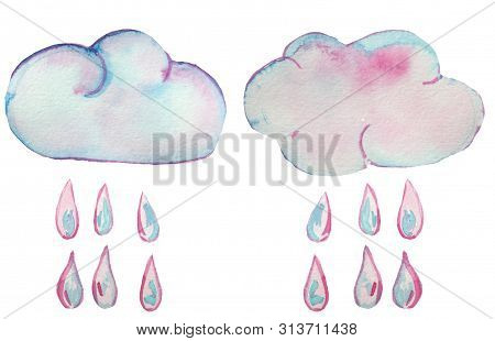 Insulated Rainbow Clouds With Rain Drops On White Background. Watercolor Illustration For Prints Or