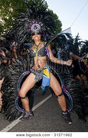 Dancer From The Bachanalia Float At The Notting Hill Carnival
