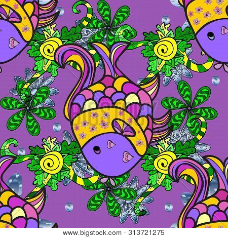 Tropical Fish On A Green, Gray And Violet Colors. Doodle Raster Illustration. Seamless Collection Of