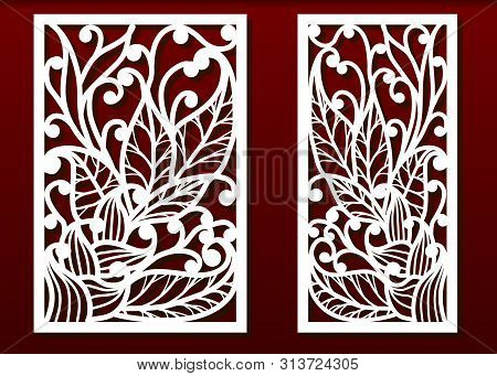 Laser Cut Panels With Floral Pattern. Die Templates, Cut-out For Wood Or Metal Decor Or Fretwork, Ca