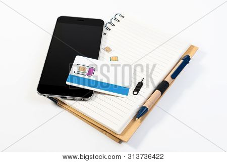 Micro sim and nano sim preparing for install and setup in smartphone for travel plan concept. Changing the SIM card on smartphone for travel. poster