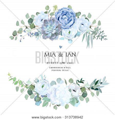 Dusty Blue Rose, Echeveria Succulent, White Hydrangea, Ranunculus, Anemone, Eucalyptus, Juniper Vect